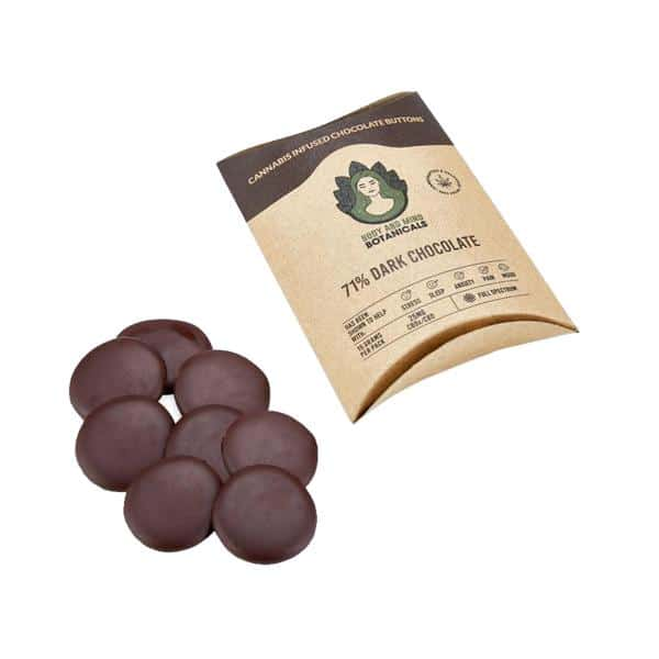 Body and Mind Botanicals 25mg CBD Cannabis Chocolate Buttons
