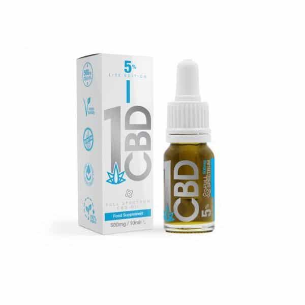 1CBD 5% Pure Hemp 500mg CBD Oil Lite Edition 10ml