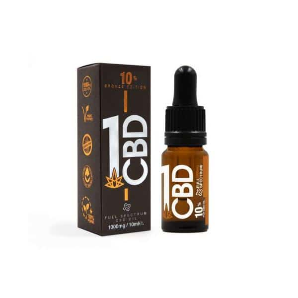 1CBD 10% Pure Hemp 1000mg CBD Oil Bronze Edition 10ml