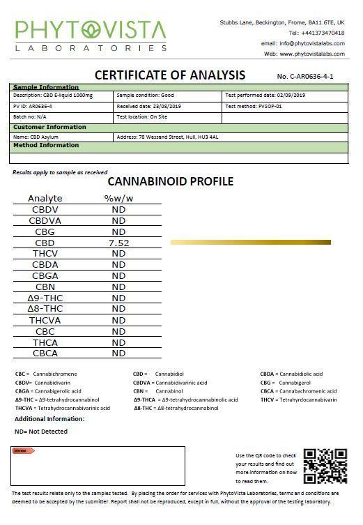 CBD Asylum 1000mg CBD Sub Ohm E-liquid 25ml Shortfill (70VG/30PG)