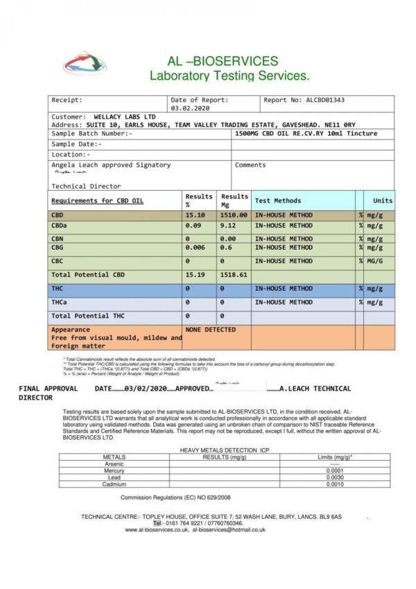 RE:CV:RY 1500mg CBD Broad Spectrum Oil 10ml