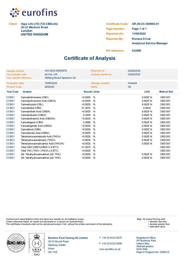 CBDLife 2000mg CBD Refined Hemp Extract Oil 10ml
